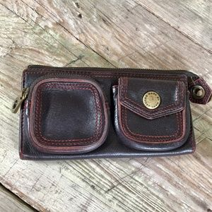 Marc Jacobs wallet brown leather zip snap organize